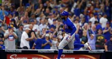 Chicago Cubs' Jason Heyward reacts after hitting a home run during the eighth inning of the team's baseball game against the San Diego Padres on Tuesday, Sept. 10, 2019, in San Diego.