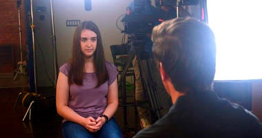 In this August 2019 photo provided by ABC News, Payton Leutner, left, is interviewed by ABC's David Muir. Leutner, of Wisconsin, survived a stabbing attack in 2014 by two teenage friends wanting to please a fictional horror character called Slender Man.