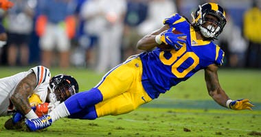 Los Angeles Rams running back Todd Gurley is tackled by Chicago Bears strong safety Ha Ha Clinton-Dix during the first half of an NFL football game Sunday, Nov. 17, 2019, in Los Angeles.