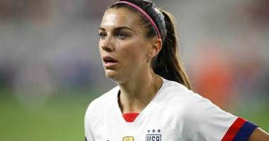 Alex Morgan looks on during a game for the U.S. Women's National Team.