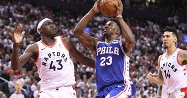 Jimmy Butler of the Philadelphia 76ers drives to the basket against the Toronto Raptors in Game 2 of the Eastern Conference semifinals.