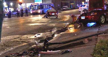 Chicago police investigate the scene of a vehicle crash Tuesday evening in the 2500 block of West Cermak