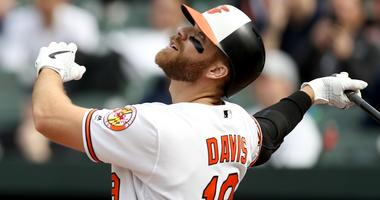 Chris Davis of the Baltimore Orioles misses a pitch during a game against the New York Yankees.