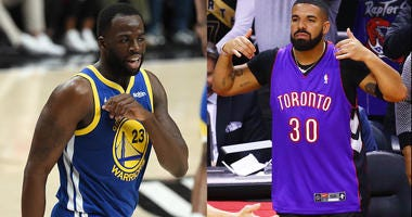 Draymond Green of the Golden State Warriors (left) and Drake (right) courtside for Game 1 of the NBA Finals