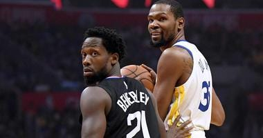 Kevin Durant of the Golden State Warriors is guarded by the Los Angles Clippers' Patrick Beverley during Game 3 of their first-round NBA playoff series.