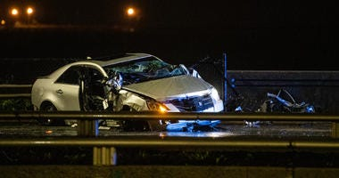 Chicago Police on scene for a crash that left the driver dead, Monday morning, on Lake Shore Drive at Oak Street Beach.