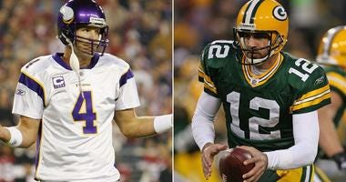 Brett Favre with the Minnesota Vikings, Aaron Rodgers with the Green Bay Packers in 2009
