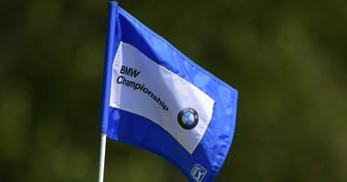 A pin flag is displayed during the first round of the BMW Championship at Aronimink Golf Club on September 6, 2018 in Newtown Square, Pennsylvania.