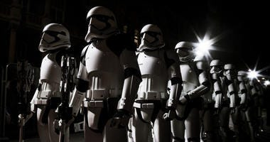 Stormtroopers march the red carpet at the European Premiere of Star Wars: The Last Jedi at the Royal Albert Hall on December 12, 2017 in London, England.