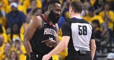 James Harden complains to the referee during Game 1 of the Western Conference semifinals between the Golden State Warriors and Houston Rockets.