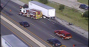 Two lanes of I-55 were blocked after a crash between two trucks June 21, 2019, just south of Illinois Route 53.