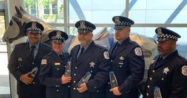 The Chicago Police Memorial Foundation honored Tuesday five Chicago Police Officers that were shot at while serving a search warrant in March.