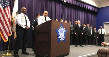 Chicago Police Superintendent Eddie Johnson says Menelik Jackson shot and killed off-duty Officer John Rivera and seriously wounded another man as they sat in a parked car on Clark near Huron.