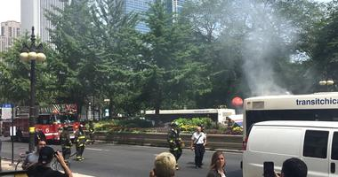 Firefighters were called for a bus on fire in the 100 block of South Michigan Avenue on July 26, 2019.