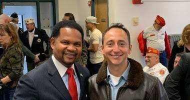 Aurora mayor and Army veteran Richard Irvin with Aurora native and former US Navy pilot Rudy Rodriguez