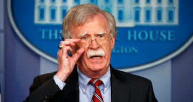 National security adviser John Bolton speaks during the daily press briefing at the White House, Thursday, Aug. 2, 2018, in Washington.