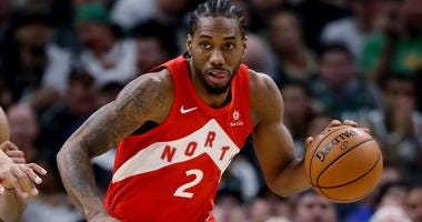 Kawhi Leonard of the Toronto Raptors dribbles up the floor during the 2019 Eastern Conference finals.