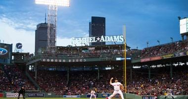 A panorama of Fenway Park as the Boston Red Sox play the Toronto Blue Jays on April 11, 2019.