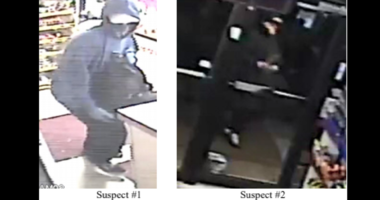 Surveillance photos of the two people thought to be involved in a Dec. 1 burglary of a convenience store in west suburban Naperville.