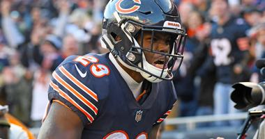 Dec 16, 2018; Chicago, IL, USA; Chicago Bears running back Tarik Cohen (29) reacts against the Green Bay Packers during the second half at Soldier Field. Mandatory Credit: Mike DiNovo-USA TODAY Sports