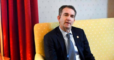 """Virginia Gov. Ralph Northam talks during an interview at the Governor's Mansion, Saturday, Feb. 9, 2019 in Richmond, Va. The embattled governor says he wants to spend the remaining three years of his term pursuing racial """"equity."""