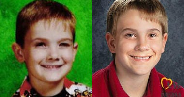 Timmothy Pitzen was 6 years old when he disappeared in 2011. An age-progressed image from the National Center for Missing and Exploited Children, released in 2018, shows how he would look at age 13.