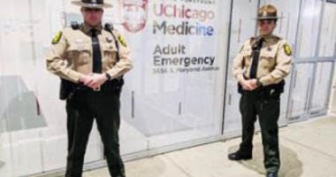 Troopers Sniskso (front) and Cibrian (rear) outside the University of Chicago Medical Center Nov. 26, 2019.