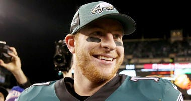 Carson Wentz smiles after a game during the 2018 season.