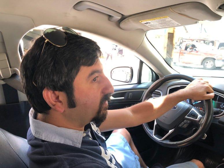Cab driver Kasra Modabberi at Wells and Wells