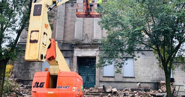 The demolition of Aurora's historic Masonic Temple began Oct. 8, 2019, less than a week after it was destroyed by a fire.