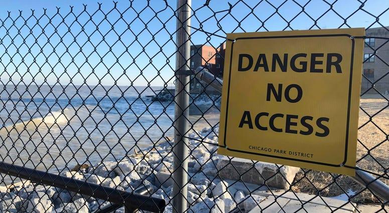 Warning Sign Along Lakefront