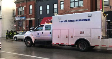 Water main break on North Halsted between 64 and West Willow. Chicago Water Management, Chicago Fire Department and Chicago Police are on scene.