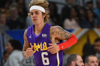 Canadian singer and songwriter Justin Bieber plays during the 2018 NBA All-Star Game