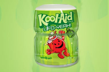 A canister of Kool-Aid's limited-edition UFO-Yeah Intergalactic Green flavor celebrating Area 51.