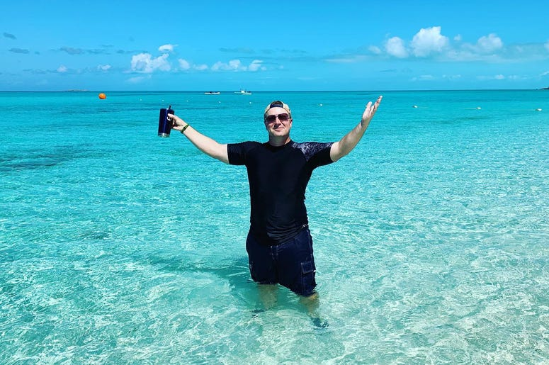 Bill at Serenity Bay, the adults-only beach on Disney's private island, Castaway Cay
