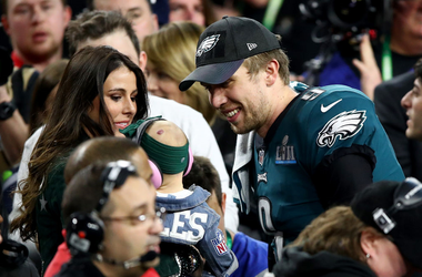 Nick Foles with child and wife