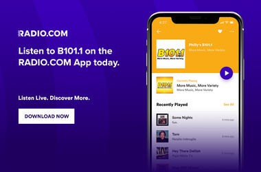 Listen To B101.1 Anywhere! On The RADIO.COM app, Alexa, Google Home, Smartspeakers, in philadelphia and philly, delaware, new jersey and beyond!