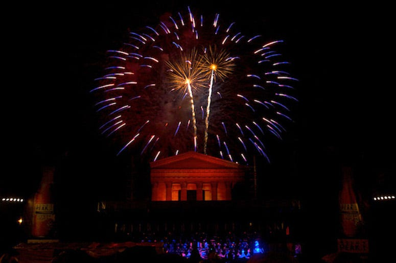 Fireworks light up the night at the Philadelphia Museum of Art in Philadelphia, Pennsylvania, Friday, July 4, 2008.