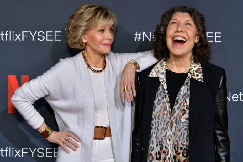 """Jane Fonda and Lily Tomlin attend the Netflix FYSEE """"Grace and Frankie"""" ATAS Official Red Carpet and Panel at Raleigh Studios on May 18, 2019 in Los Angeles, California."""
