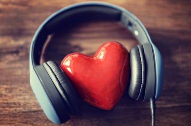 headphones, heart