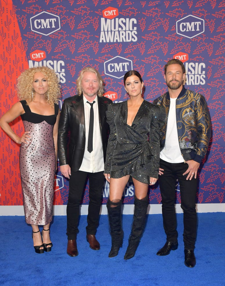 Kimberly Schlapman, Philip Sweet, Karen Fairchild and Jimi Westbrook of Little Big Town attend the 2019 CMT Music Awards at Bridgestone Arena on June 05, 2019 in Nashville, Tennessee