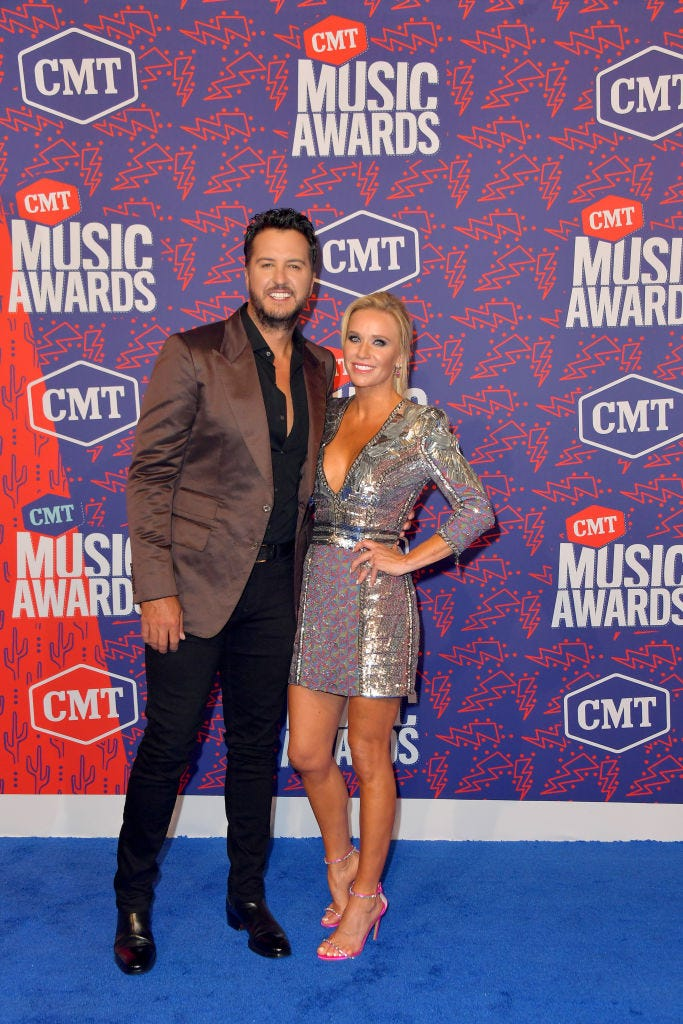 Luke Bryan and Caroline Boyer attend the 2019 CMT Music Awards at Bridgestone Arena on June 05, 2019 in Nashville, Tennessee