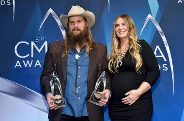 Chris Stapleton and Morgane Stapleton pose in the press room at the 51st annual CMA Awards at the Bridgestone Arena on November 8, 2017 in Nashville, Tennessee