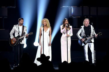 Jimi Westbrook, Kimberly Schlapman, Karen Fairchild, and Philip Sweet of Little Big Town perform onstage during the 54th Academy Of Country Music Awards at MGM Grand Garden Arena on April 07, 2019 in Las Vegas, Nevada