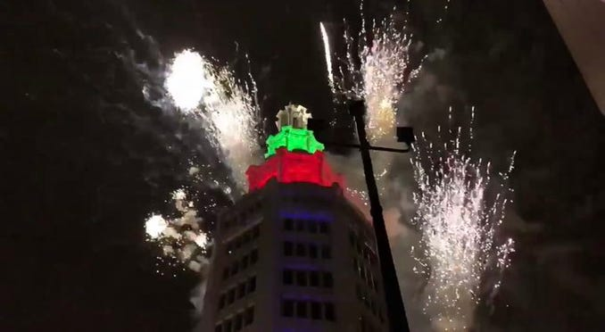 Fireworks on New Year's Day 2020 at Electric Tower. (WKBW Photo/Michelle McLeod)