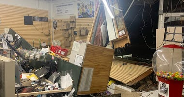 Damage inside Black Rock Pharmacy after night of violence