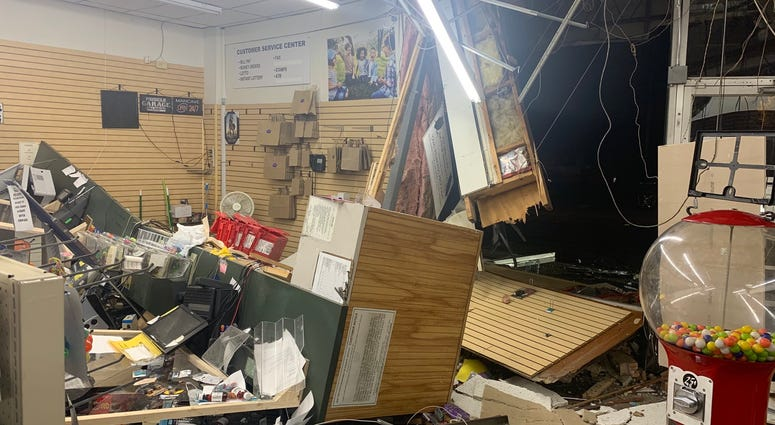 Damage inside Black Rock Pharmacy after night of violence