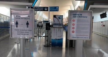 COVID-19 signs at Buffalo Niagara International Airport. July 1, 2020 (WBEN Photo/Mike Baggerman)