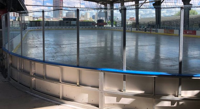 Hockey rink at Buffalo Riverworks. July 31, 2020 (WBEN Photo/Mike Baggerman)