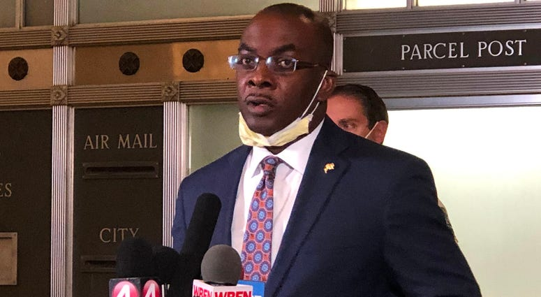 Buffalo Mayor Byron Brown announces a citywide curfew in response to the riots in Buffalo. June 2, 2020 (WBEN Photo/Mike Baggerman)
